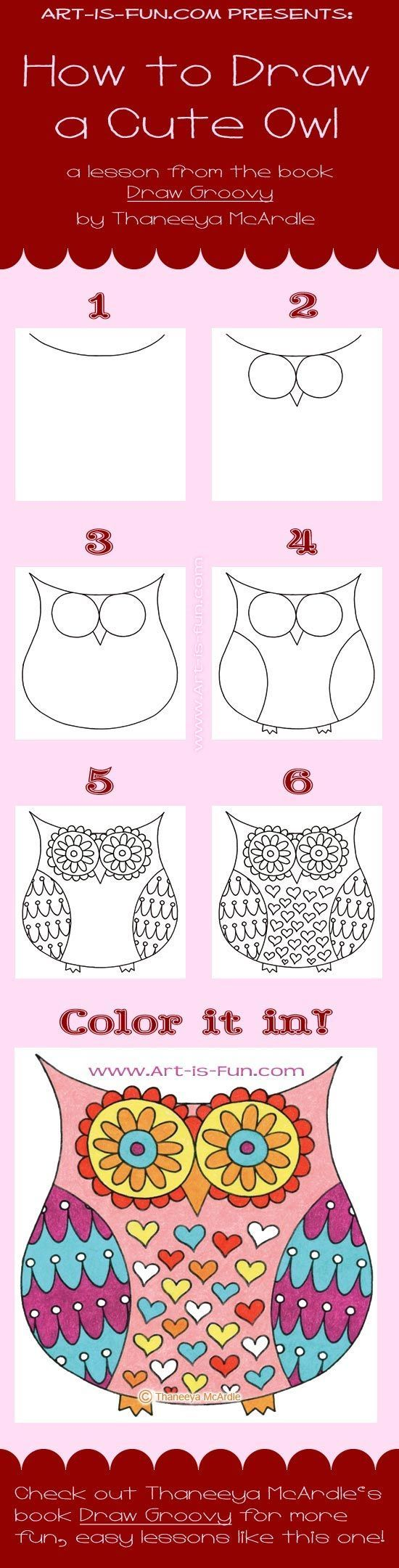 Cool diy tutorial for drawing abstrack owl!! Great page www.art-is-fun.com