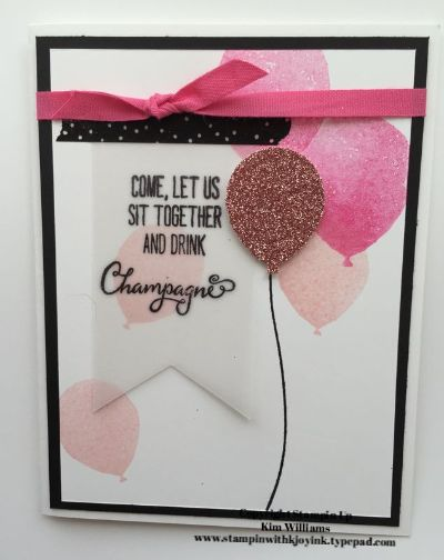 Stampin Up Balloon Celebration stamp set from the Occasions catalog. Coordinating Balloon Bouquet punch. Blushing bride glimmer paper and vellum. Great birthday card idea. Kim williams. www.stampinwithkjoyink.typepad.com