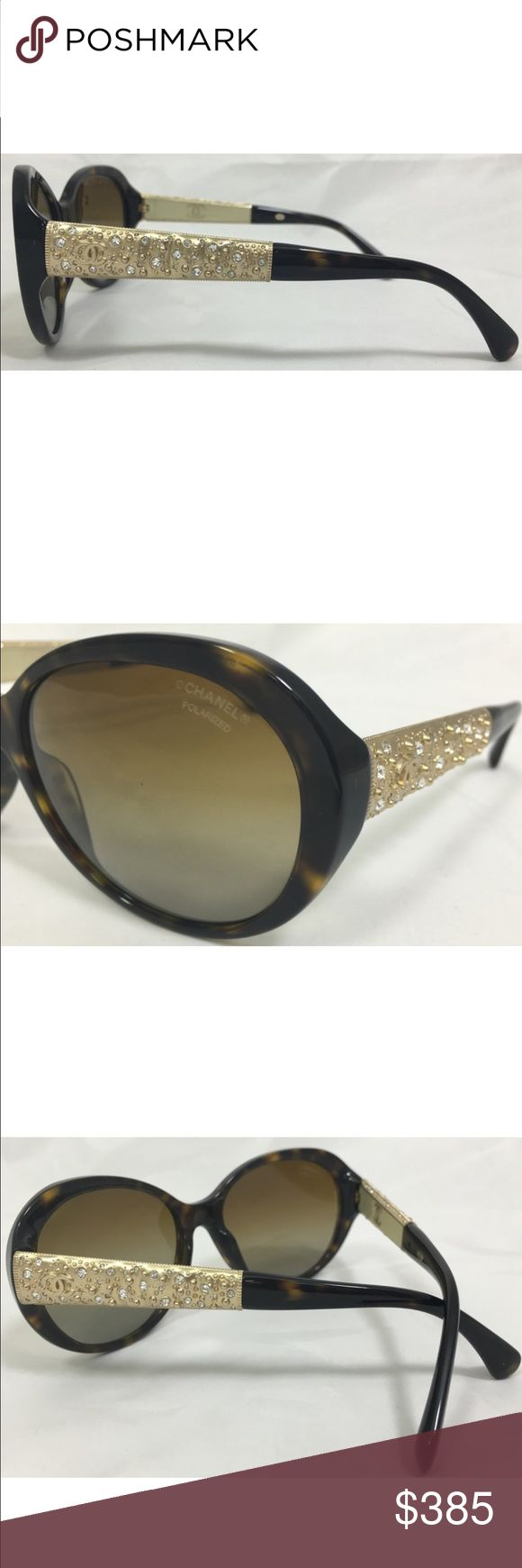 """Chanel Bijou Tortoise gold and crystal polarized Stunning Chanel Bijou Tortoise gold and crystal polarized glasses. Case included. In great condition. Show stopping and classy sunglasses.  58mm 5""""Lx2""""Hx5""""W frame color Tortoise. Lens color brown gradient CHANEL Accessories Sunglasses"""