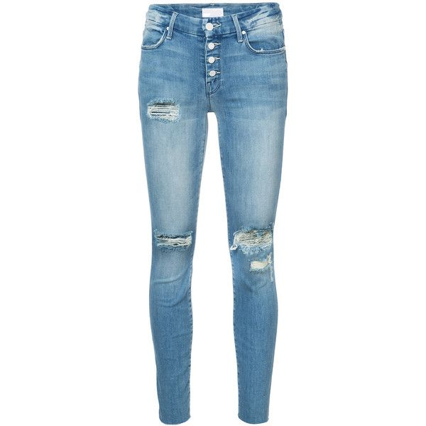 Mother ripped skinny jeans ($395) ❤ liked on Polyvore featuring jeans, pants, bottoms, blue, high waisted distressed jeans, distressed jeans, blue jeans, high-waisted jeans and skinny jeans