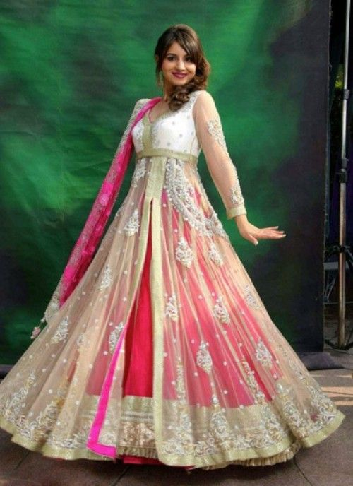 This Heavy Flared Floor length Pink Suit Gives You A Princess Look