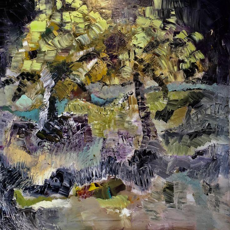 """Part of nature """"I bjørkeskogen"""" Oil on canvas 80x80 Artist:Anne Marie Tangen"""