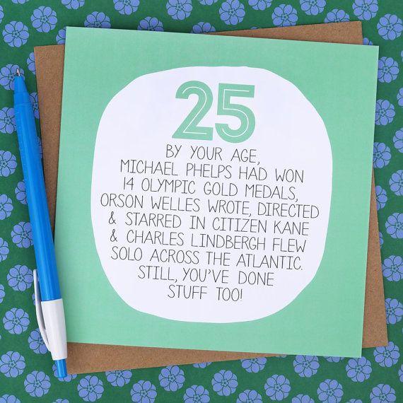 25th Birthday Card Funny Card funny 25th card by WeArePaperPlane