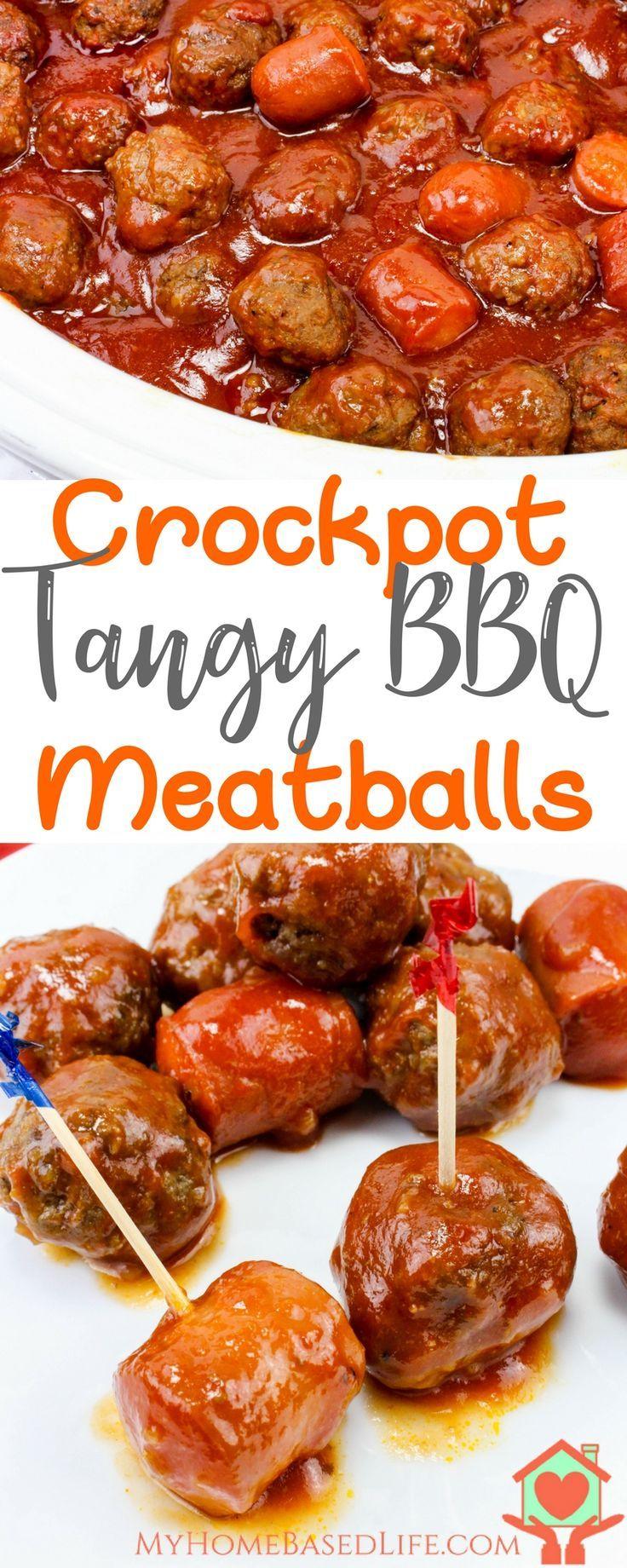 Crockpot Tangy BBQ Meatballs   Crockpot Recipe   Crockpot Meatballs   BBQ Meatball Recipe   Meatball Recipe   Easy Meatball Recipe   #meatballrecipe #crockpotmeals via @myhomebasedlife