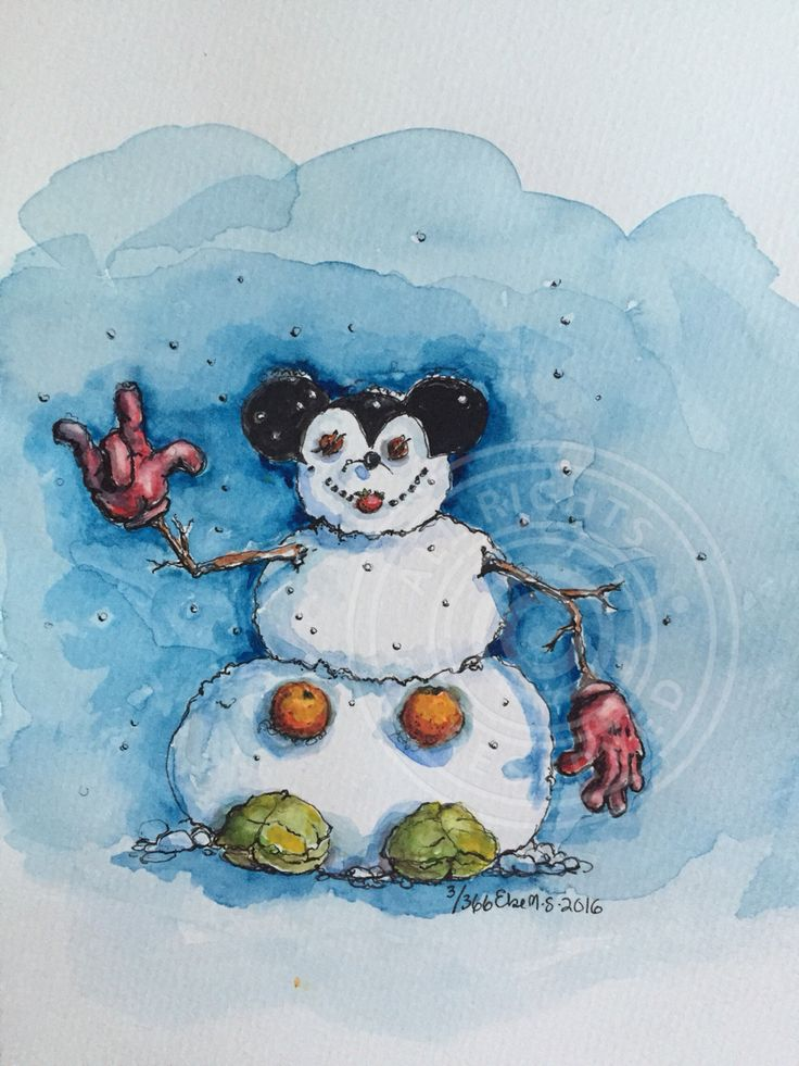 3/366 #snowman #mickeymouse#drawing