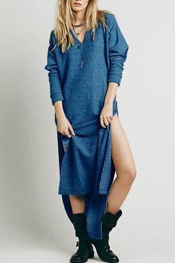 Blue Cutout Back Long Sweater Dress With Splits -  YOINS