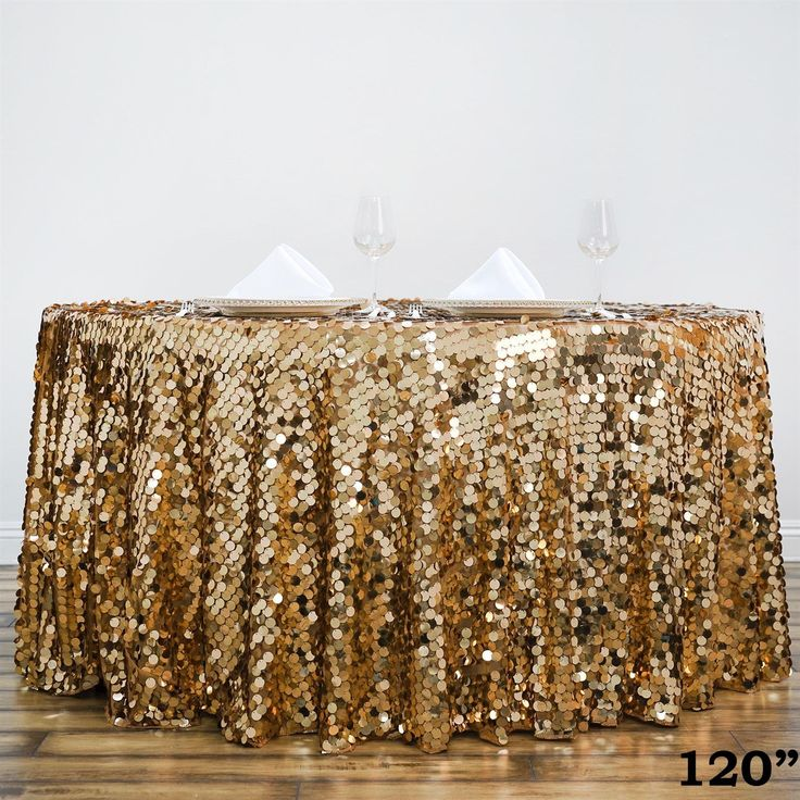 120'' Wholesale Big Payette Sequin Round Tablecloth For Wedding Banquet Party - Gold - Premium Collection
