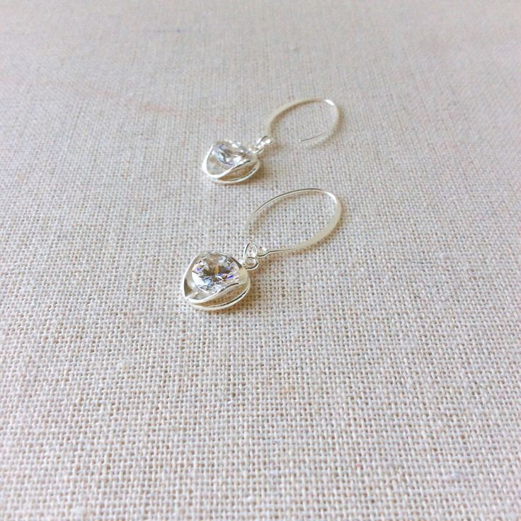 Jewelry for mom, bridal jewelry for her.  Sterling silver earrings with cubic zirconia stones.  Wedding jewelry for her or a romantic gift for her.  Anniversary gift