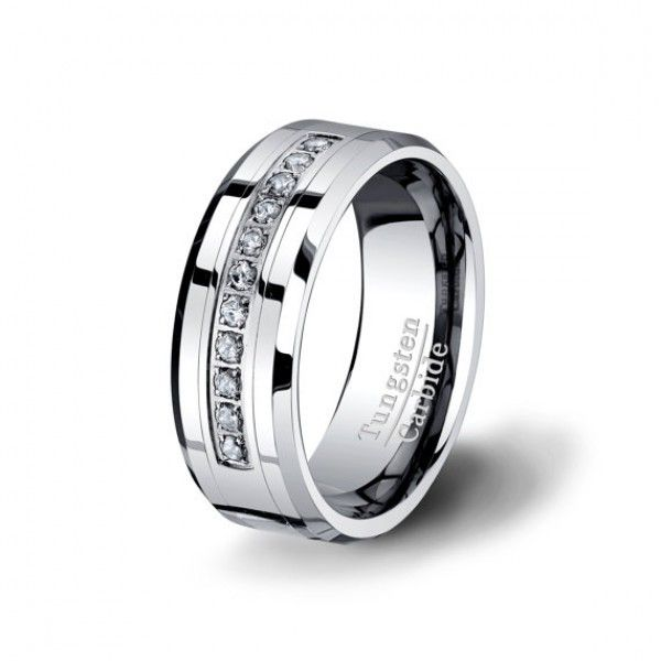 New This Tungsten Carbide Ring HIGH QULAITY Diamonds CZ Ring Mens Wedding Band was one of our best seller Tungsten metal is inlaid with classic cubic zirconia