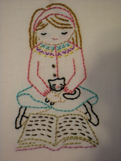 Girl & kitty reading by knittingbeauty  Design by Wee Wonderfuls
