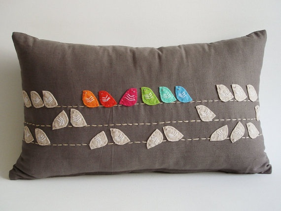 Sukan / Birds Linen Pillow Cover - 12x20 inch - Dirty Gray Beige Soft Brown Orange Red Blue Pink Green Blue. via Etsy.