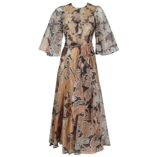 1975 Jean-Louis Scherrer Couture Metallic Bronze Floral Organza Belted... ($1,455) ❤ liked on Polyvore featuring dresses, floral dress with belt, floral dresses, floral print dress, floral day dress and flower print dress