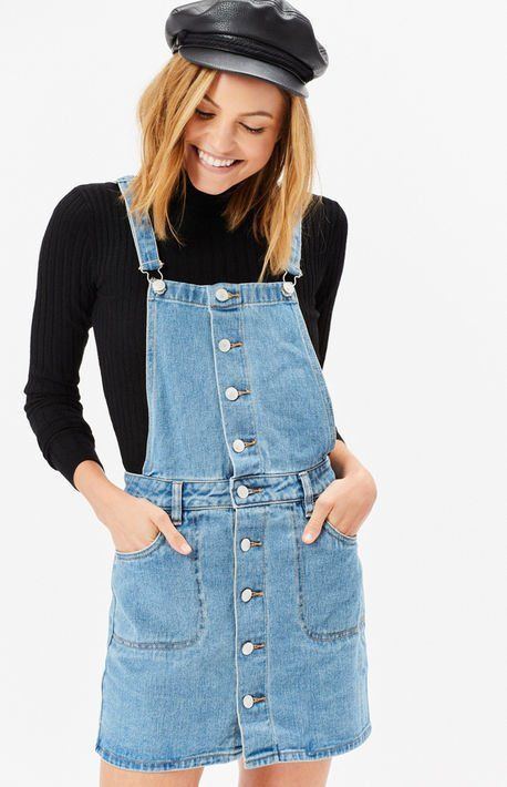 c6eb4b4f07 Button Front Denim Overall Dress