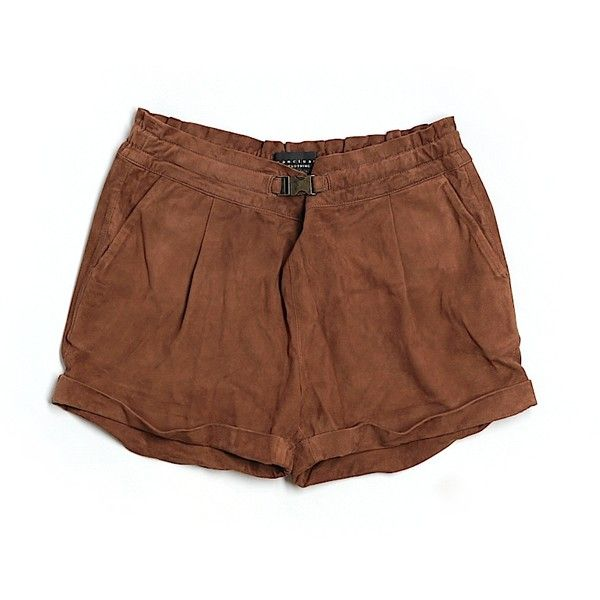Pre-owned Sanctuary Leather Shorts Size 8: Brown Women's Bottoms ($23) ❤ liked on Polyvore featuring brown