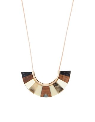 Wood Inlay Crescent Pendant Necklace | Gold | Accessorize