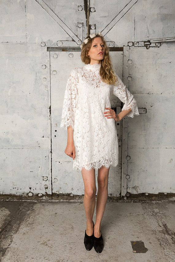 White high neck lace dress with billowy by IndiebrideLondon