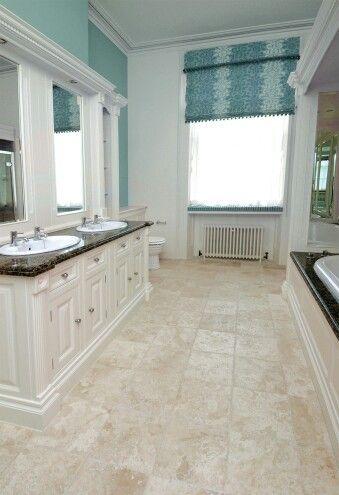 bathroom, white vanity, espresso top, cream floors   large
