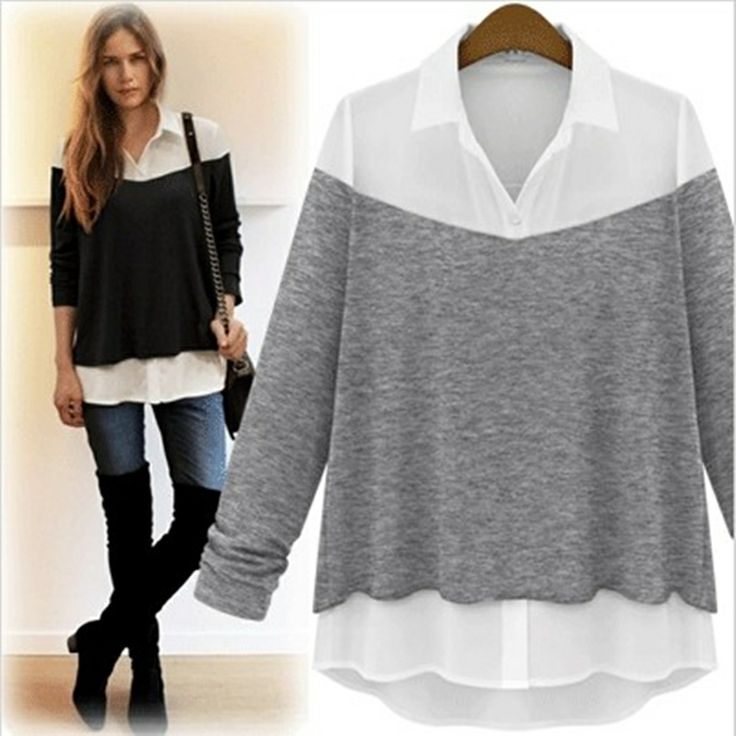 Free Shipping New Fashion! Plus size clothing spring 2014 clothing loose fashion top outerwear euro shirt-inBlouses & Shirts from Apparel & ...