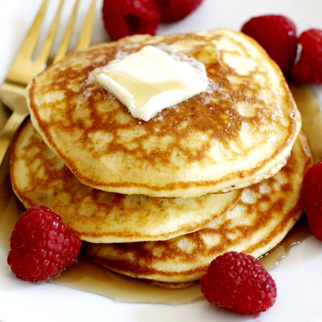 Fluffy and tender pancakes made with coconut flour.