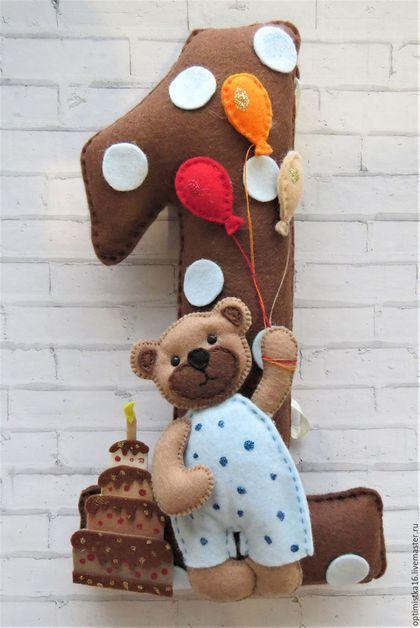 Купить или заказать Цифра из фетра в интернет-магазине на Ярмарке Мастеров. Циферка на празднование Первого года рождения малыша. Мягкая, добрая. Циферка станет прекрасным украшением праздника.
