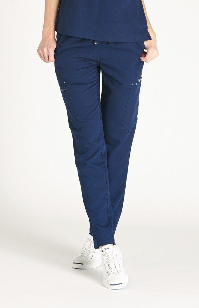 Women's Fizi Skinny Scrub Pants-Navy
