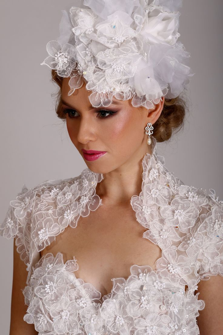 Bridal headpiece worn with Alejandro Wedding Gown. To view more beautiful veils and headpieces to complement your perfect dress, please visit http://lddesigner.com/collections/accessories/ #LeonardDerecourt #BridalVeil #BridalHeadpiece #BridalUpdo #BridalHair #WeddingVeil