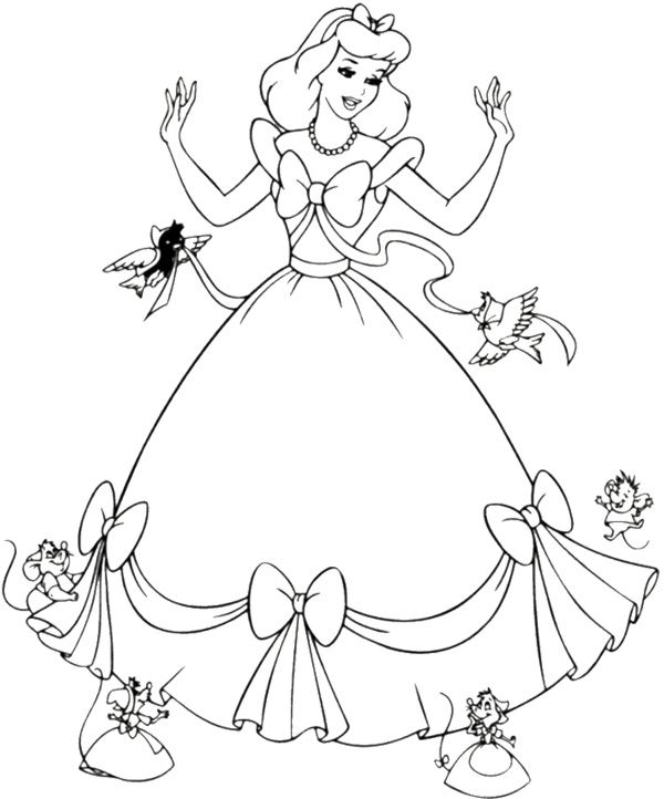 Cinderella and animal coloring page cinderella Disney animals coloring book for adults