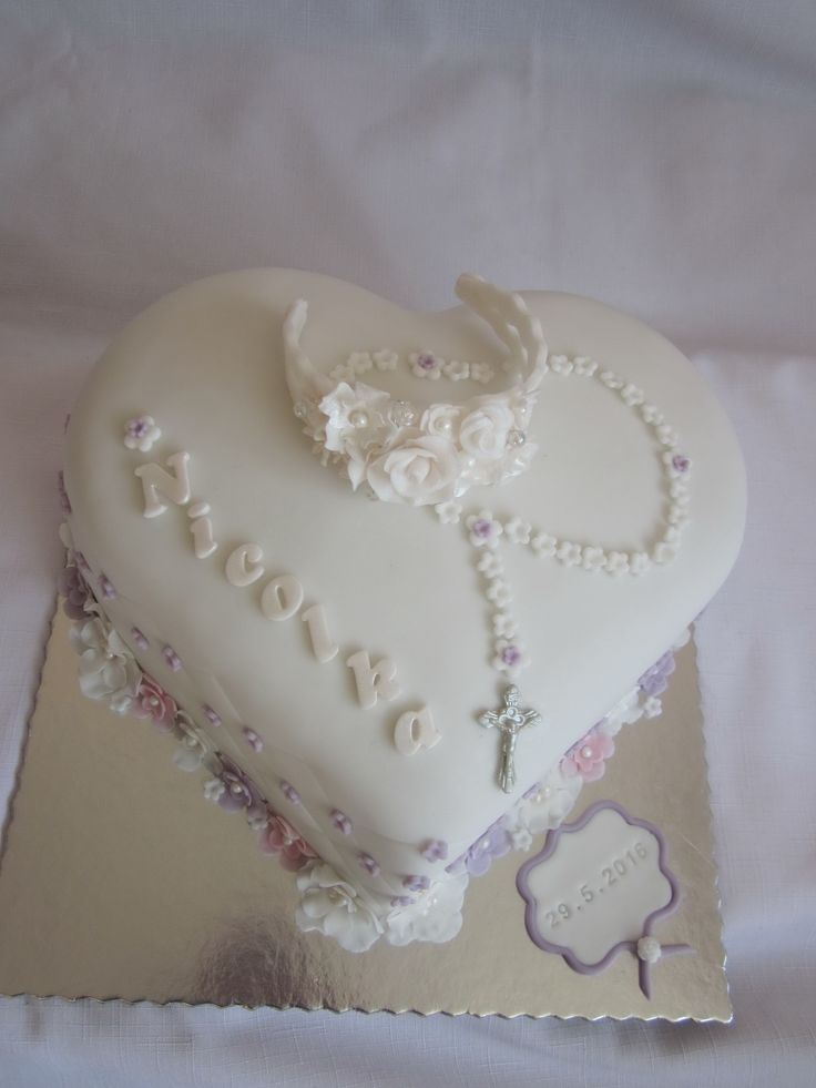 First Holy Communion cake with chaplet