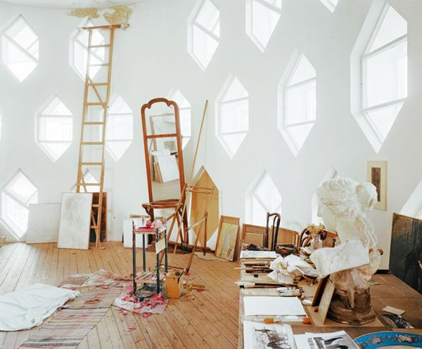 an artists room with gorgeous windows at the melnikov house // via coco+kelley www.hollyirwin.com