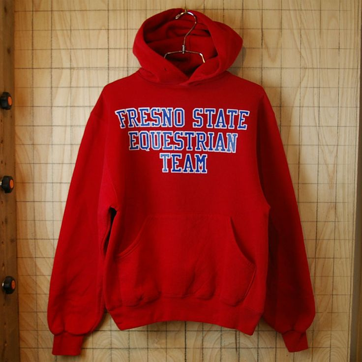 【RUSSELL ATHLETIC】USA製90s古着レッド(赤)FRESNO-STATE-EQUESTRIAN-TEAM3段プリントスウェットパーカー|メンズS