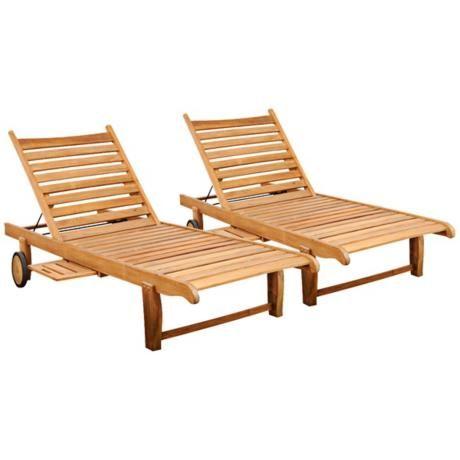 Amazonia 2-Piece Teak Cairo Outdoor Loungers -