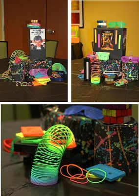 Centerpiece ideas for a glow party & 39 best 80s Party images on Pinterest | Birthdays Party ideas and ...