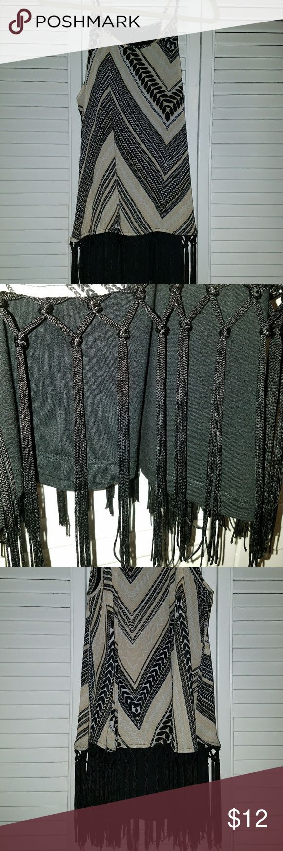 NEW DIRECTIONS fringe top Chevron print creams and black. Black fringe bottom. New without tags. new directions Tops Tank Tops