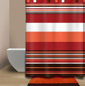 """By Em  72"""" Rio Shower Curtain in Red, Brown and Orange"""