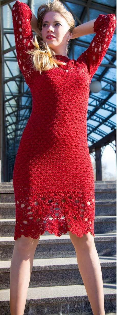 red crochet dress by Ludmila Vostrikova