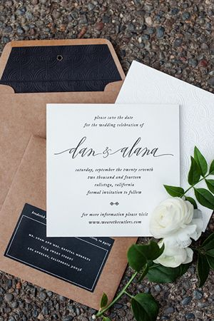 Black and White Vintage-Inspired Blind Emboss Letterpress Save the Dates via Oh So Beautiful Paper: http://ohsobeautifulpaper.com/2014/06/alana-dans-blind-emboss-letterpress-save-dates/ | Design: Vellum Vogue | Calligraphy: Anne Robin | Photo: Erin Hearts Court #wedding
