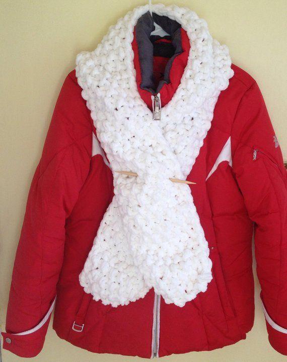 White Winter Scarf, Knit Neckwarmer, Handknit Winter Scarf for Men, Women's Winter Muffler