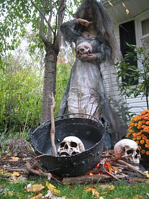 sleepy hollow movie yard displayskull in the cauldron with large stir stick - Scary Halloween Yard Decorating Ideas