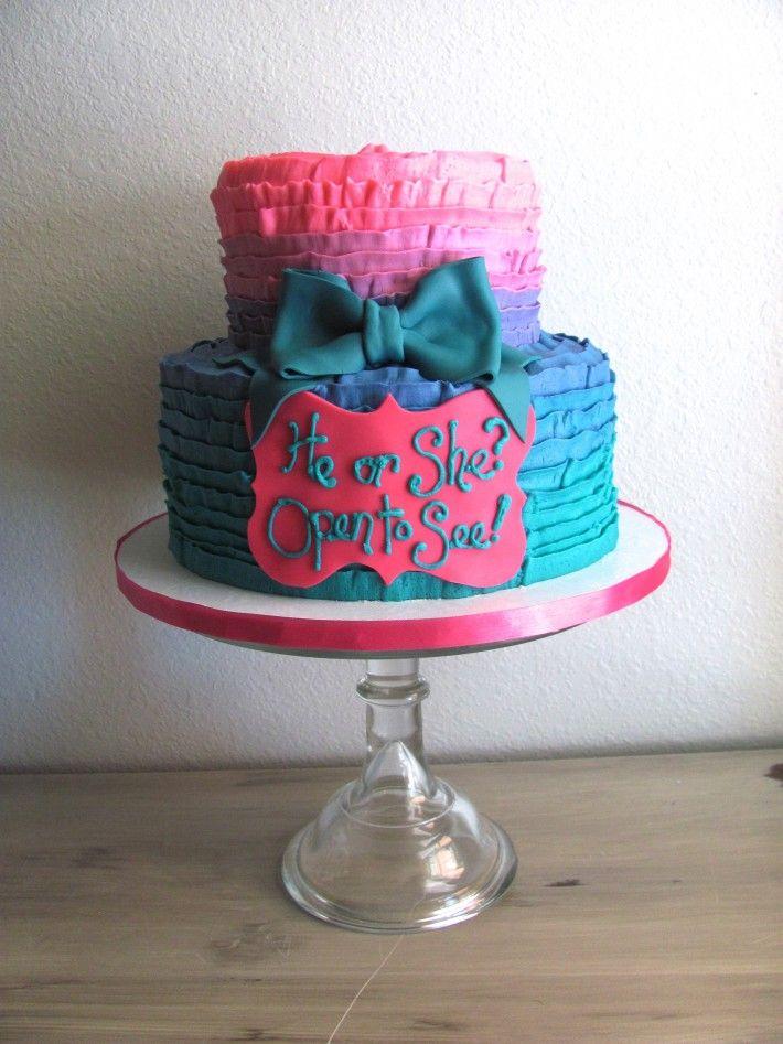 Pink & Teal Gender Reveal Cake | Nashville Sweets