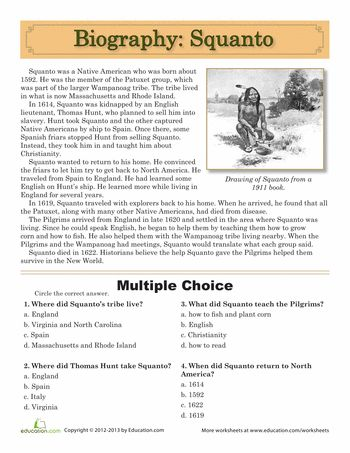 Worksheets Reading Comprehension Worksheets Multiple Choice 1000 ideas about multiple choice on pinterest test taking squanto biography with questions free printable 5th grade level