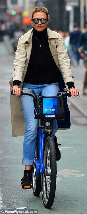 Beautiful even on a bike:For her excursion, the former Victoria's Secret Angel kept thing...