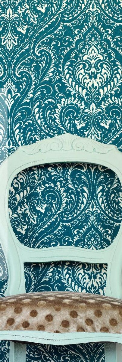 I Love The Rich Royal Feeling Of This Blue / Teal Demask Baroque Wallpaper.  Such