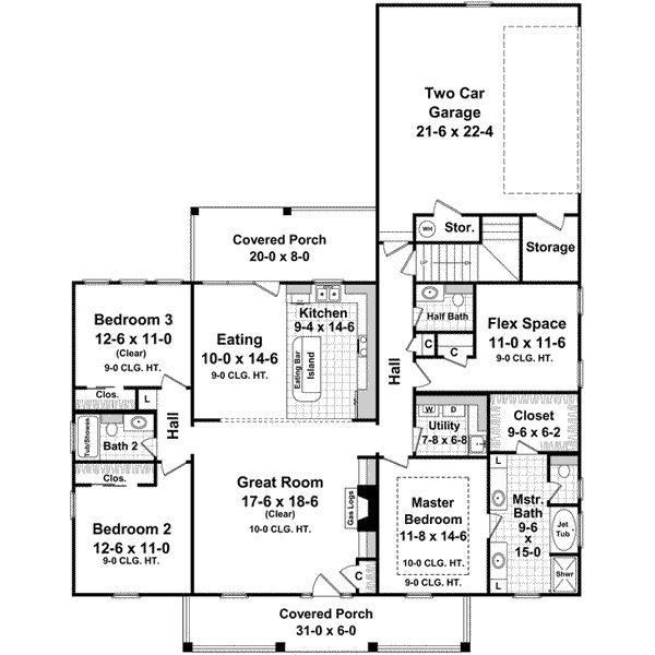 Country style house plans 1888 square foot home 1 for 2 1 2 car garage square footage