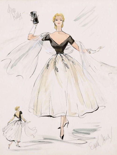 theniftyfifties: Edith Head costume sketch for Grace Kelly in 'Rear Window'.