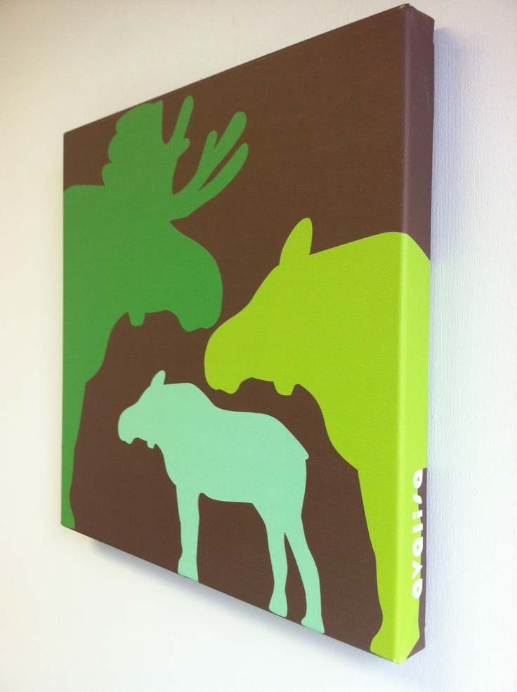 sooo cute! mama, daddy, and baby moose! perfect for a nursery