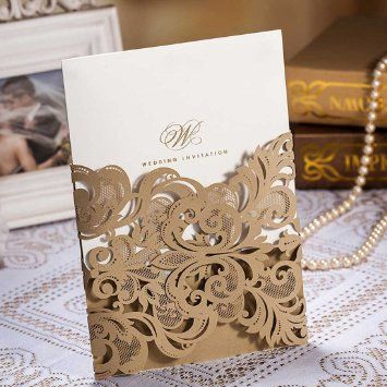 Wishmade Laser Cut Wedding Invitations Packs Gold Lace Flower Party  Invitation Cardstock For Marriage Engagement Bride