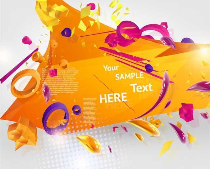 Abstract Vector With 3D Elements - FREE