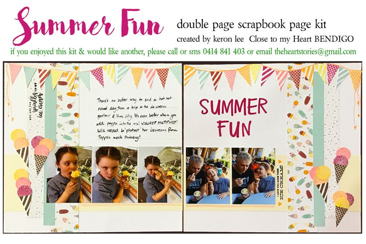 SUMMER FUN kit scrapbook layout kit suitable for all occasions & both genders - Generous alphabet included - so the title can be customized to your photos/event. $18 ea plus flat $10 per order postage w/i Australia - International postage available. Paypal, pay to moblie or direct debit. Email: theheartstories@gmail.com scrapbook kit, paper craft, paper arts, page kit, scrapbook layout, CTMH Sugar Rush, easy scrapbooking, mail order kit