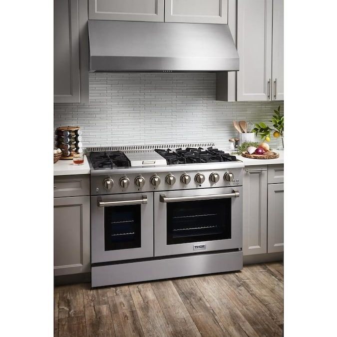 Thor Kitchen 48 In 7 Burners 4 2 Cu Ft 2 5 Cu Ft Convection Oven Freestanding Double Oven Dual Fuel Range Stainless Steel Lowes Com Gas Range Double Oven Freestanding Double Oven Kitchen Range Hood