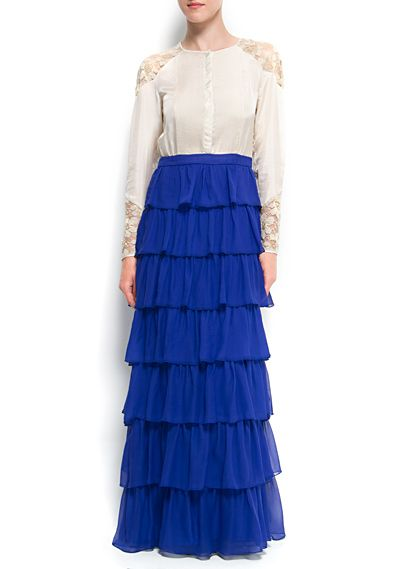 MANGO - Silk ruffle long dress